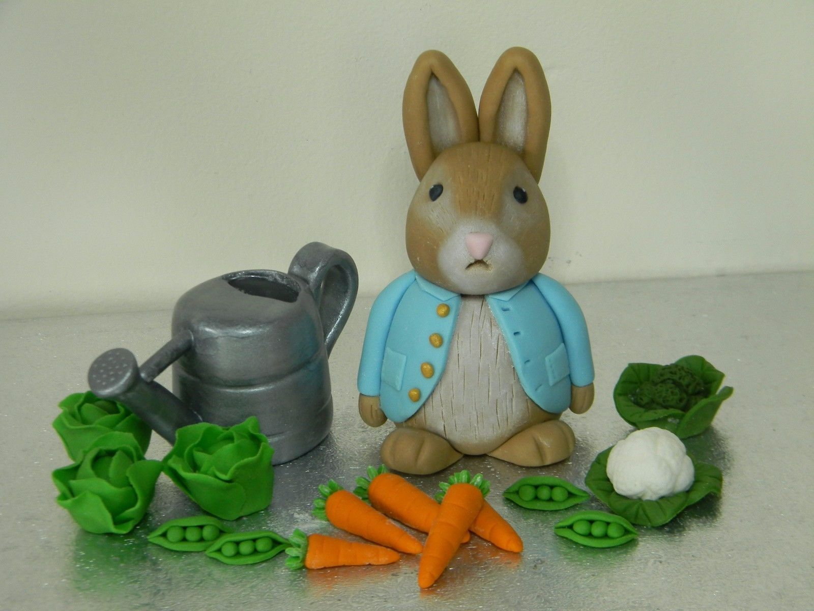 Peter Rabbit Style Cake Toppers with Watering Can & Veg